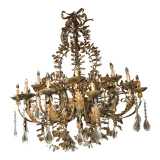 Vintage Italian 19-Arm Murano Crystal and Glass Chandelier with Iron and Bronze Leaf Laiden Vines For Sale