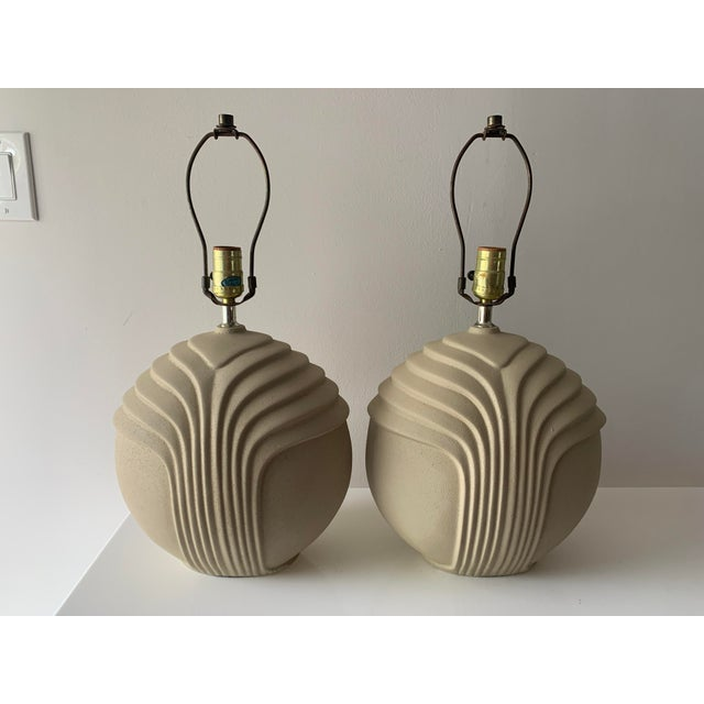 Sand 1980's Art Deco Style Plaster Table Lamps - a Pair For Sale - Image 8 of 10