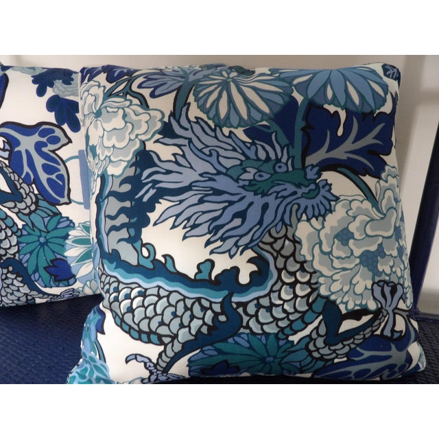 Contemporary Blues & White Custom Made Pillows With Dragon Design - A Pair For Sale - Image 3 of 7