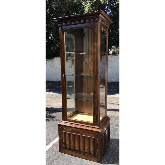 Antique English and Narrow Linen Fold Vitrine Showcase Cabinet For Sale - Image 4 of 4