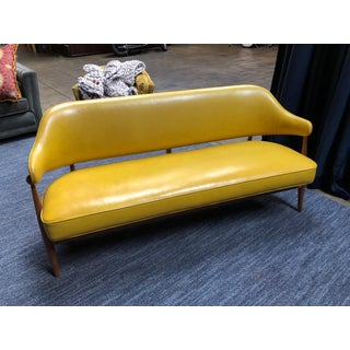 1950s Vintage Danish Teak Settee Completely Restored in Summer Yellow Leather Preview