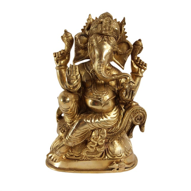 Asian Brass Ganesha Statue For Sale - Image 3 of 3