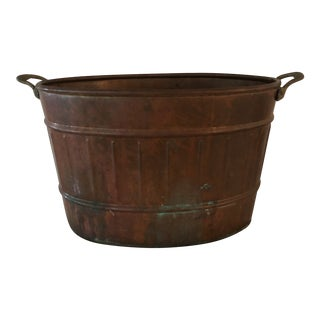 Vintage Copper Wash Bucket With Brass Handles For Sale