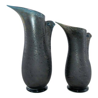"""Barovier Toso """"Barbarico"""" Murano Art Glass Sculptural Bird Vases - A Pair For Sale"""