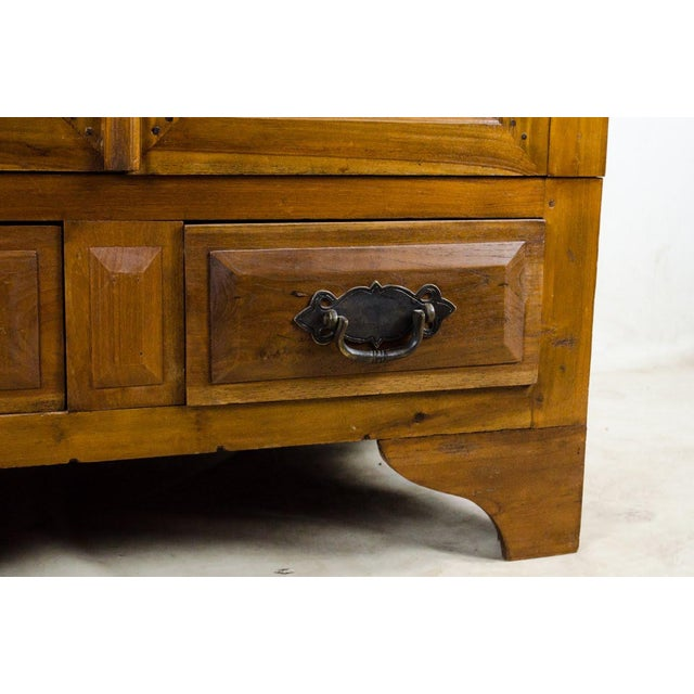 Vintage Indonesian Double Hinged Iron and Teak Cabinet For Sale - Image 9 of 13