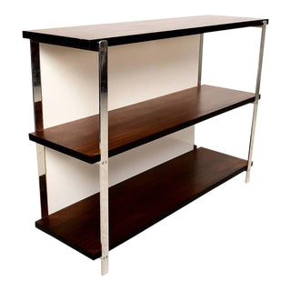 Custom Bookcase in Mahogany & Aluminum For Sale