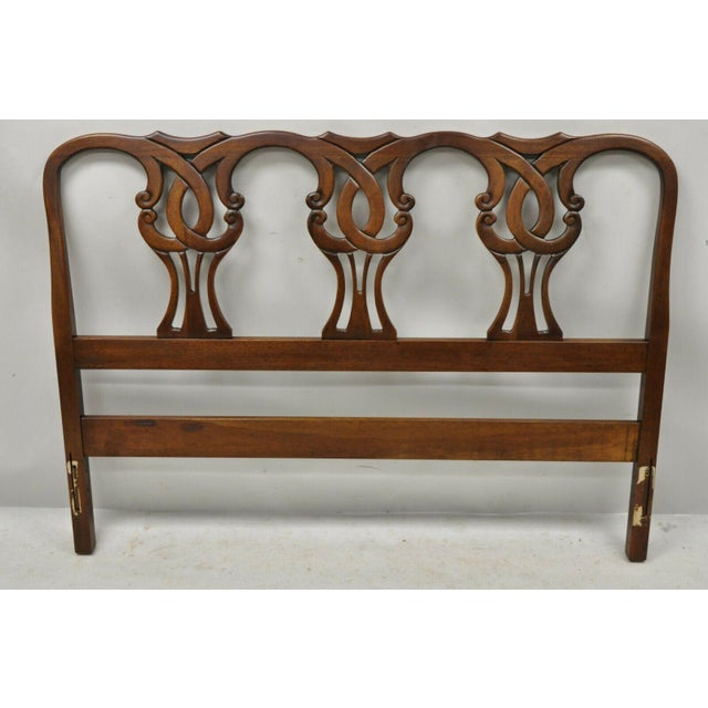 Vintage Blair House Chippendale Style Mahogany Full Size Bed Headboard. Item features solid wood construction, beautiful...