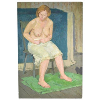 1940s Vintage Victor Lasuchin Portrait Nude Woman in Slip Oil Painting For Sale