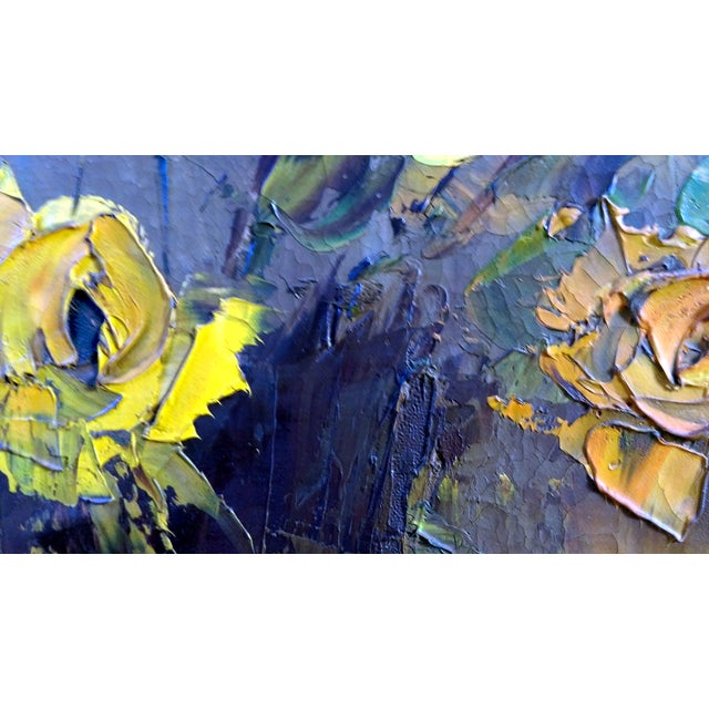 Mid-Century Palette Knife Floral Painting - Image 5 of 10