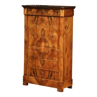 19th Century French Louis Philippe Burl Walnut Secretary With Black Marble Top For Sale