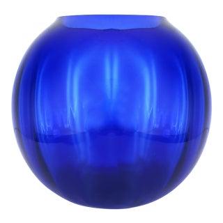 Large Cobalt Blue Glass Bowl Vase For Sale