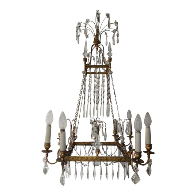 19th Century French Neoclassical Crystal and Bronze Chandelier with Spears For Sale