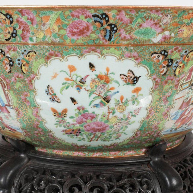 This rare and exquisite rose medallion porcelain bowl was realized in China, likely for an American market, circa 1840,...
