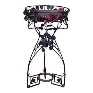 French Art Nouveau Style Wrought Iron Floral Design Fernery/Planter Stands- A Pair For Sale