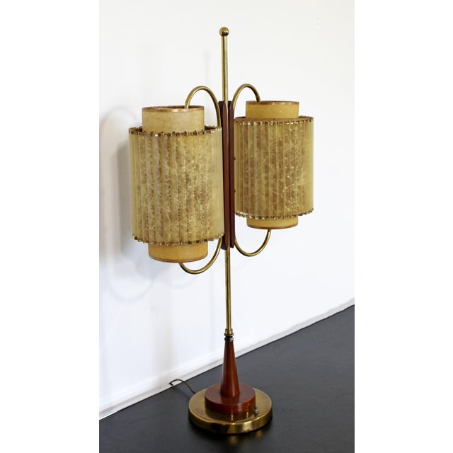 Art Deco Art Deco Wood & Brass Sculptural Table LampDual Headed For Sale - Image 3 of 9