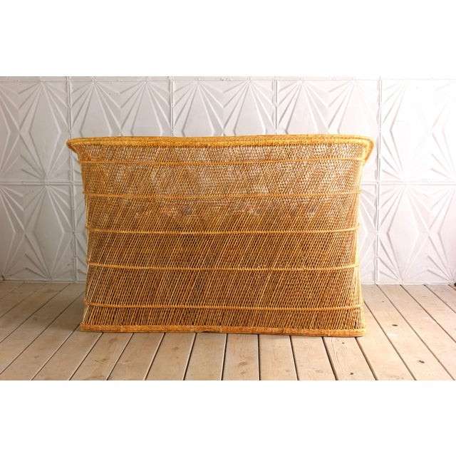 1970s Boho Chic Wicker Rattan Peacock Style Sofa Settee For Sale - Image 4 of 6