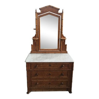 Victorian Faux Bamboo Dresser With Mirror Marble Top Birds Eye Maple For Sale