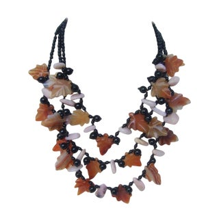 Artisan Carved Glass Beaded Leaf Necklace For Sale