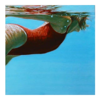 "Carol Bennett ""See Water"" Figurative Swimmer Waterscape Painting For Sale"