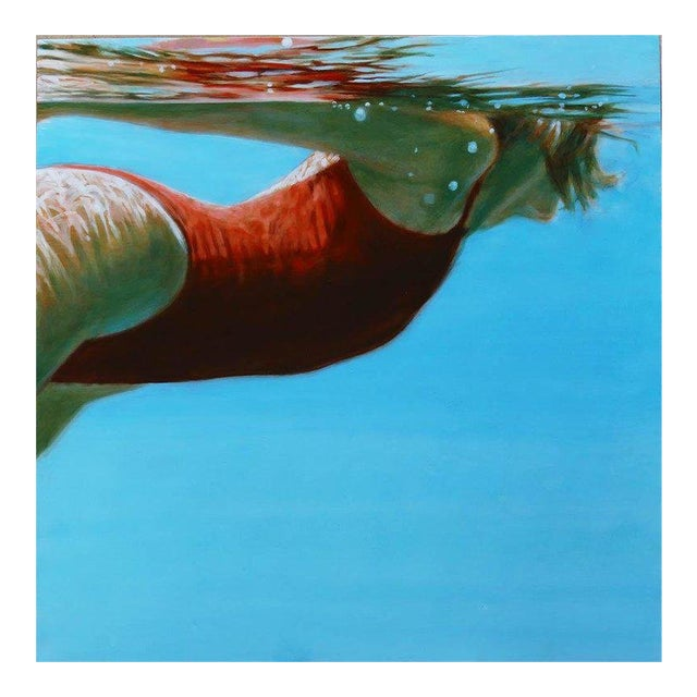 """Carol Bennett """"See Water"""" Figurative Swimmer Waterscape Painting For Sale"""