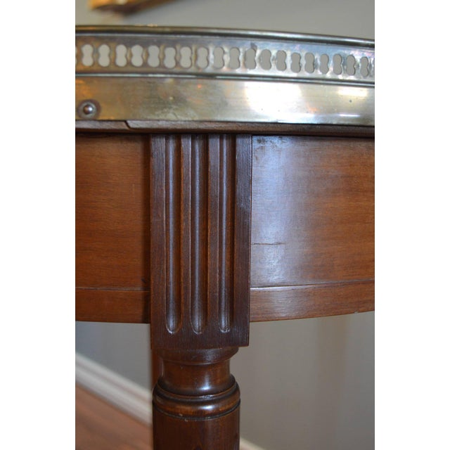 Bronze Louis XVI Style Mahogany Bouillotte Table With Original Marble Top For Sale - Image 7 of 9