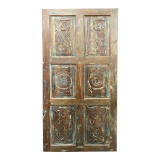 Vintage Floral Carved Blue Teak Door For Sale