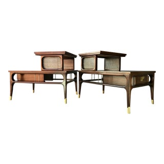 Restored Mid Century Two Tier End Tables For Sale