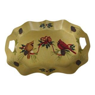 Red & Gold Cardinal Tray For Sale