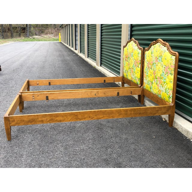 Vintage Upholstered Twin Bed Frames - a Pair For Sale - Image 11 of 13