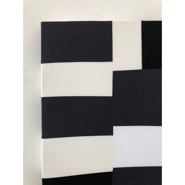 Black Abstract Minimalist Black and White Textile Painting For Sale - Image 8 of 12
