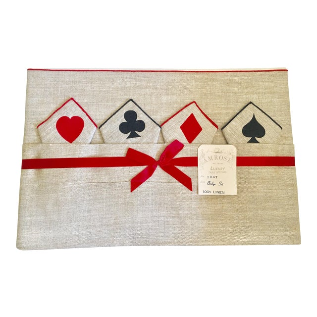 Vintage Game Table Size Tablecloth & Napkins - Set of 5 - Image 1 of 6