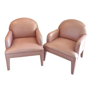 Glam Hollywood Regency Custom 1980's Pearlescent Blush Leather Chairs - a Pair For Sale