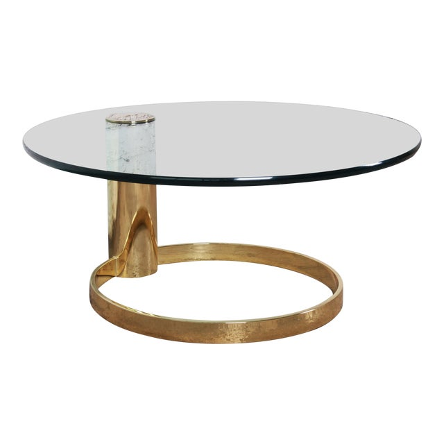 Leon Rosen for Pace Collection Cantilevered Brass and Glass Coffee Table For Sale