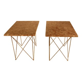 1950s Italian Marble and Brass End Tables - A Pair For Sale