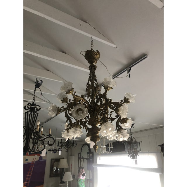 Rococo Rococo 18-Light Cast Gilt Bronze Chandelier For Sale - Image 3 of 12