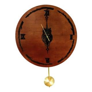 Rustic Barn Owl Pendulum Wall Clock