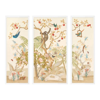 A Jungle Gathering by Allison Cosmos, Set of 3, in White Framed Paper, Medium Art Print For Sale