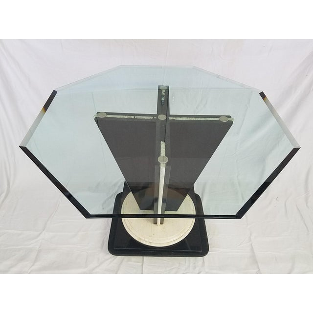 Glass Top Table with Granite & Marble Base - Image 8 of 8