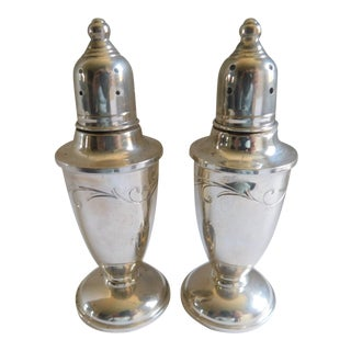Mid Century Molte Sterling Etched Weighted Salt & Pepper Shakers For Sale