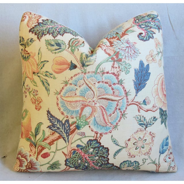 """Early 21st Century Travers Tree-Of-Life Linen Feather/Down Pillows 22"""" Square - Pair For Sale - Image 5 of 13"""