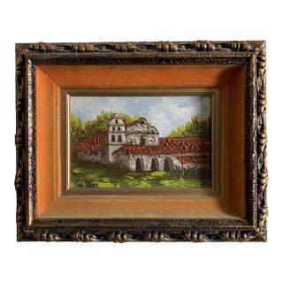 "Antique Acrylic ""San Diego Mission"" Original Painting Dated 1861 For Sale"