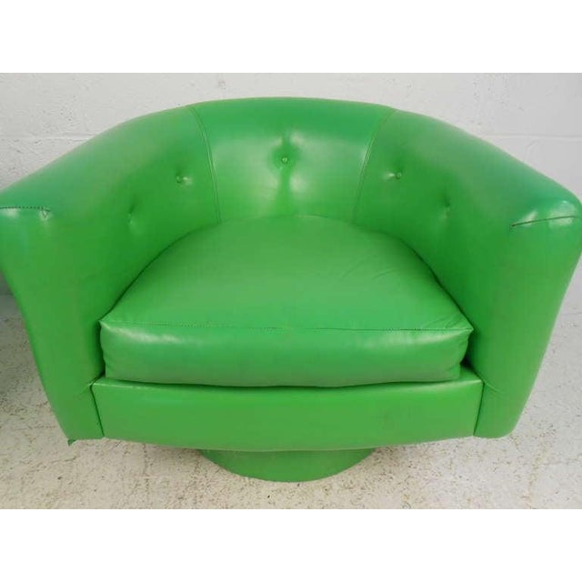 Pair of Vintage Lounge Chairs With Swivel Base For Sale - Image 4 of 5