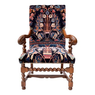 Antique English Barley Twist Oriental Carpet Upholstered Chair For Sale