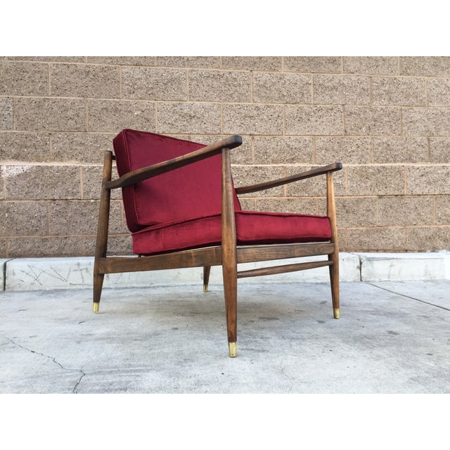 Mid Century Walnut and Velvet Lounge Chair - Image 3 of 5