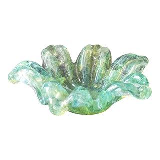 Murano Italian Bowl Bullicante Controlled Bubble Art Glass Ashtray For Sale