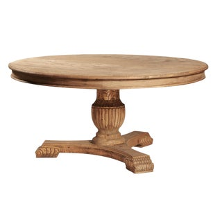 Round Carved Wood Pedestal Dining Table For Sale
