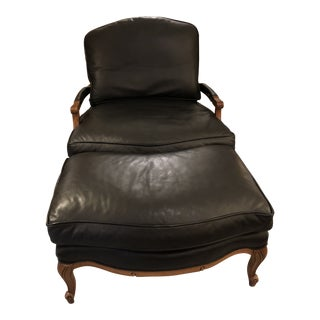 Woodward & Lothrop Black Leather and Walnut Club Chair & Ottoman -A Set of 2 For Sale