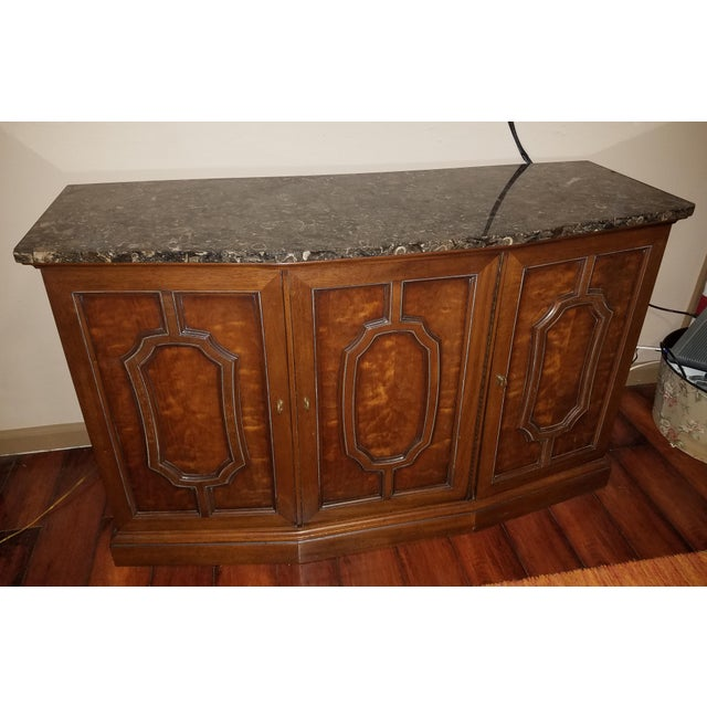 Henredon Sideboard Console Silver Cabinet W/Granite Stone Top - Image 8 of 8