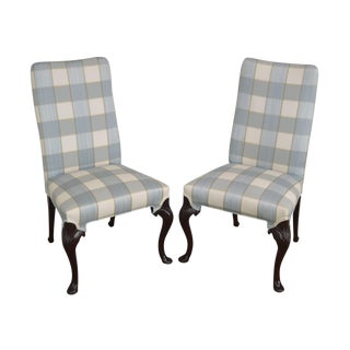 Hickory Chair Solid Mahogany Pair of Queen Anne Upholstered Side Chairs For Sale
