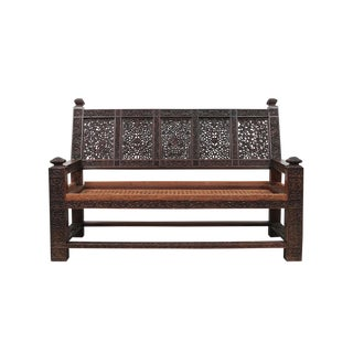 Aesthetic Movement Carved Settee For Sale